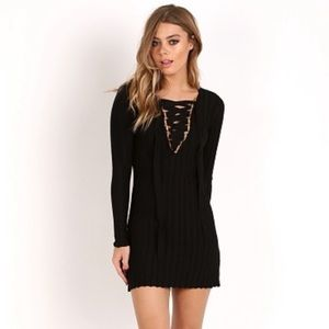 For Love and Lemons lace up Knitz dress black xs